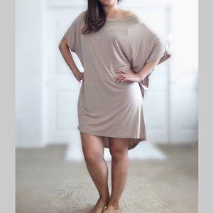 Lulu's Tan Oversized Hi-Lo Tunic Top Dress M/L